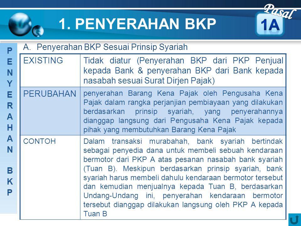 1. PENYERAHAN BKP A. Penyerahan BKP Sesuai Prinsip Syariah EXISTINGTidak diatur (Penyerahan BKP dari PKP Penjual kepada Bank & penyerahan BKP dari Ban
