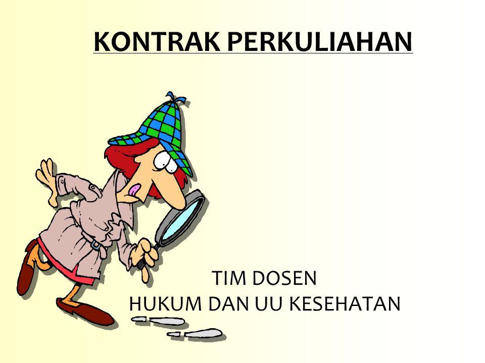 KOMPETENSI Mampu mengetahui dan memahami tentang hukum dan undang-undang kesehatan di Indonesia Menerapkannya dalam kehidupan profesi sehari-hari serta mampu menganalisa masalah yang terkait dengan hukum dan undang-undang kesehatan serta mampu memberikan alternatif pemecahan masalahnya 2