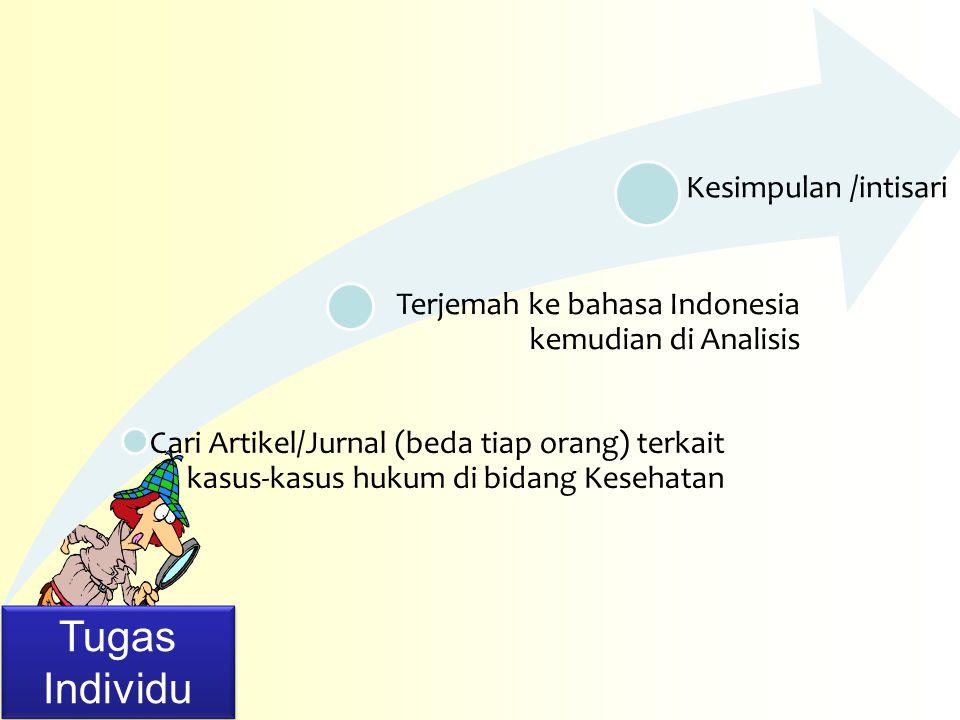 Cari Artikel/Jurnal (beda tiap orang) terkait kasus-kasus hukum di bidang Kesehatan Terjemah ke bahasa Indonesia kemudian di Analisis Kesimpulan /inti