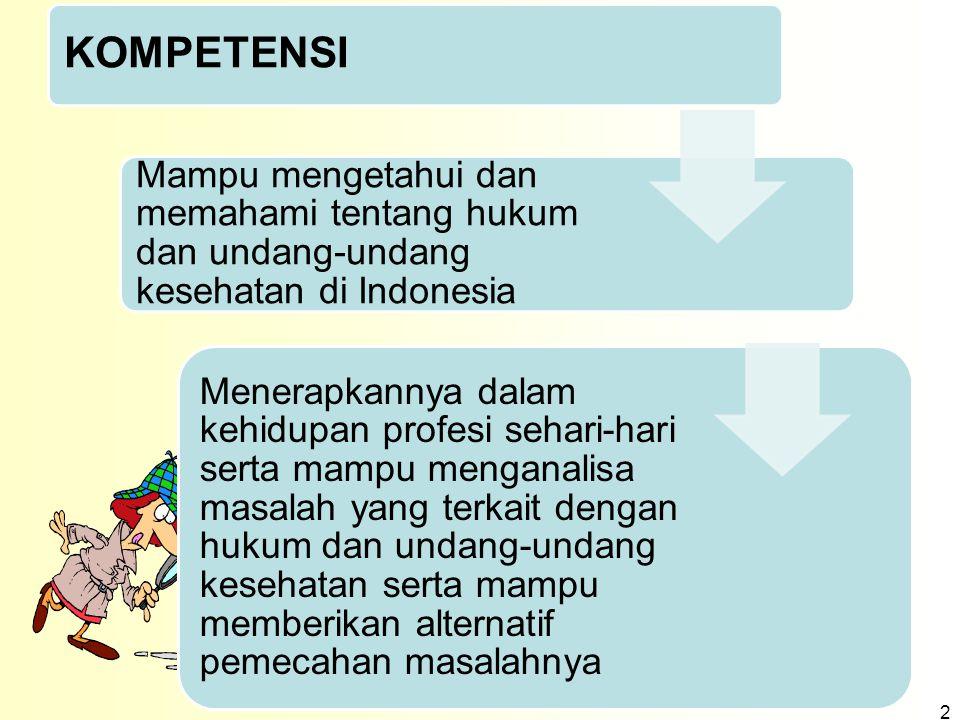 KOMPETENSI Mampu mengetahui dan memahami tentang hukum dan undang-undang kesehatan di Indonesia Menerapkannya dalam kehidupan profesi sehari-hari sert