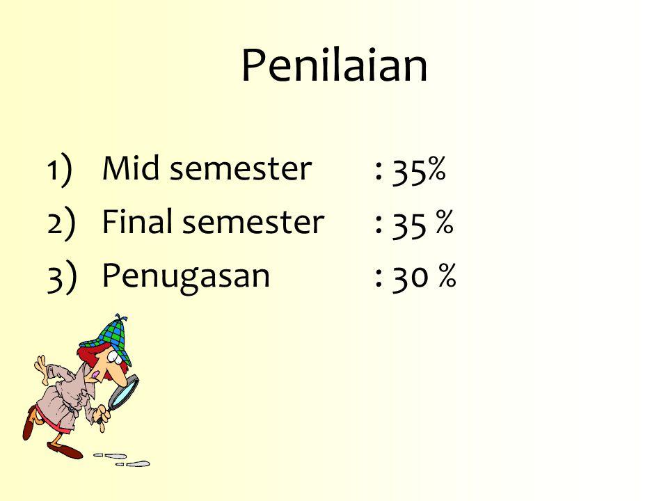1)Mid semester: 35% 2)Final semester : 35 % 3)Penugasan: 30 % Penilaian