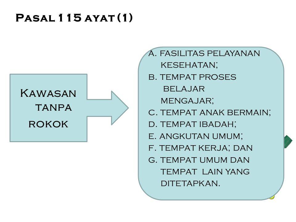 Kawasan tanpa rokok a. fasilitas pelayanan kesehatan; b. tempat proses belajar mengajar; c. tempat anak bermain; d. tempat ibadah; e. angkutan umum; f