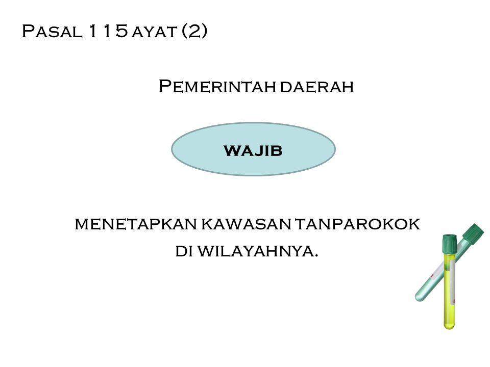 Pasal 115 ayat (2) Pemerintah daerah menetapkan kawasan tanparokok di wilayahnya. wajib