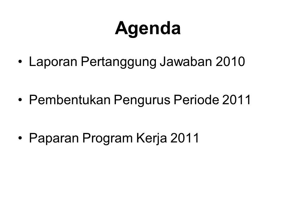 Laporan Pertanggung Jawaban 2010 –Jumlah Anggota hadir = 26 orang –Tempat : Rumah Makan Ikan Bakar Cianjur, Cipete Jakarta Selatan –Semua Anggota menyetujui dan menerima Laporan dimaksud Perubahan Pengurus Periode 2011 BINKY SUPARTO FARIDA SENDJAYA DIANA FAWZIA LINDA TOBING IDA SYAHRANIE IWAN GARDONO DJOKO PURWONGEMBORO A NATAKOESOEMAH –Terima kasih atas bantuan tenaga, pemikiran dan dukungan kpd rekan Arief H dan Bahrul A, yang telah bergabung di kepengurusan dari 4 tahun yang lalu.