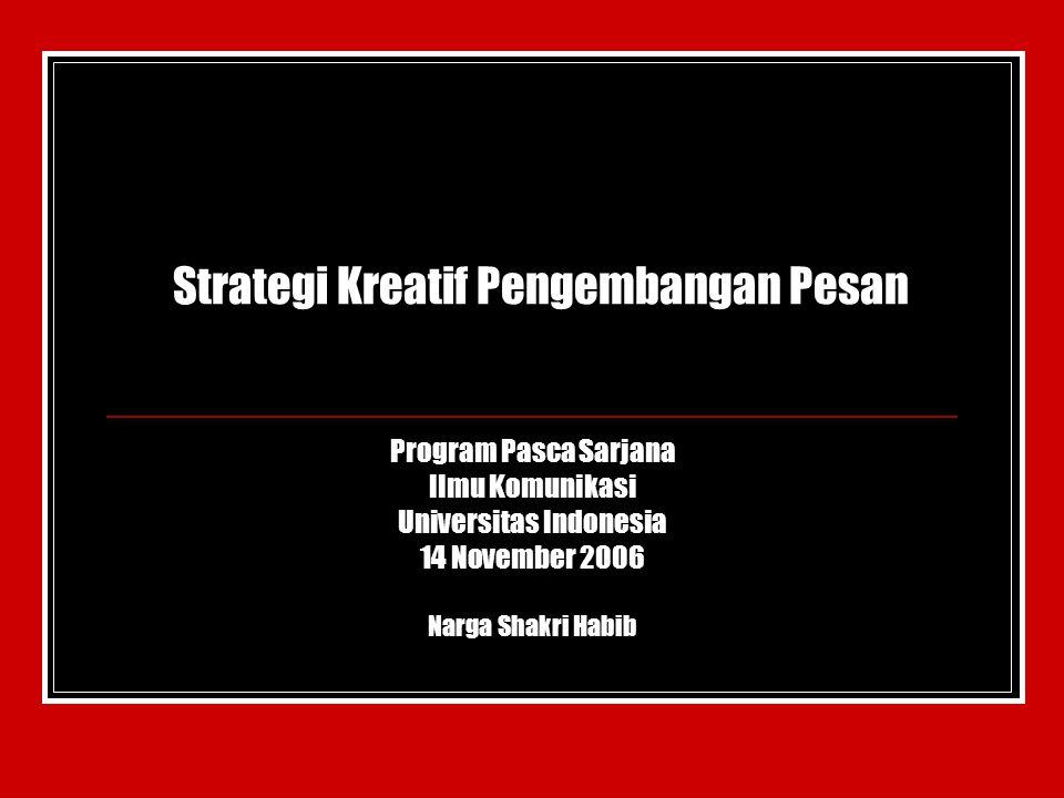 Strategi Kreatif Pengembangan Pesan Program Pasca Sarjana Ilmu Komunikasi Universitas Indonesia 14 November 2006 Narga Shakri Habib