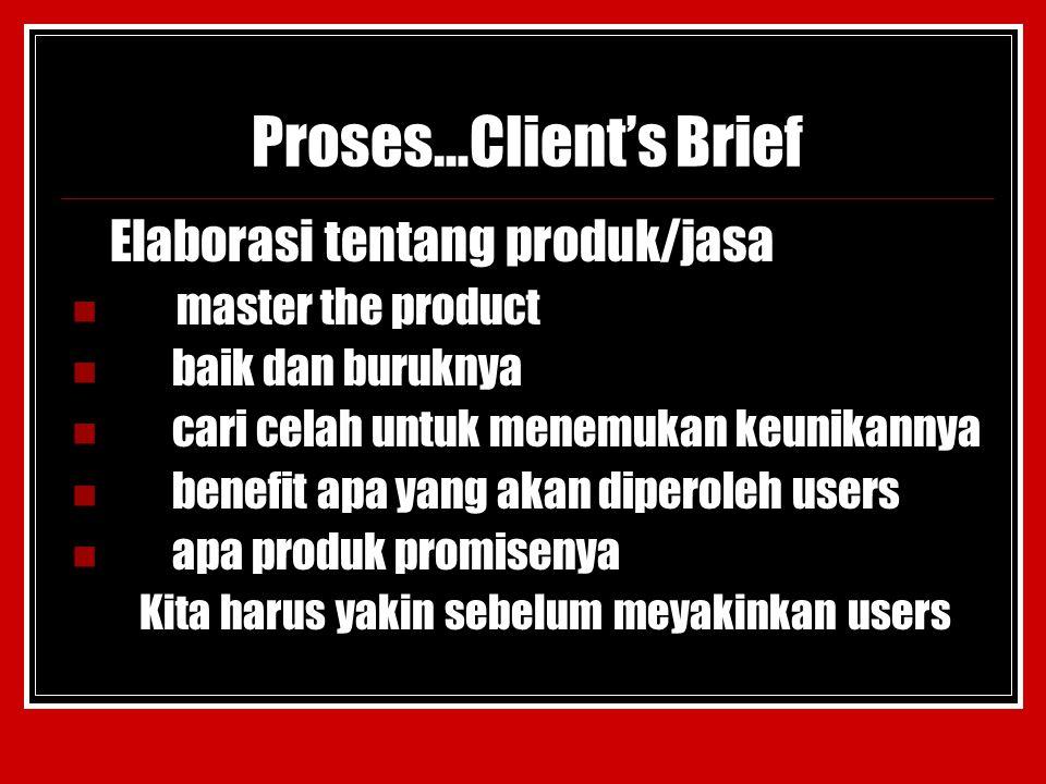 Proses…Client's Brief Elaborasi tentang produk/jasa master the product baik dan buruknya cari celah untuk menemukan keunikannya benefit apa yang akan diperoleh users apa produk promisenya Kita harus yakin sebelum meyakinkan users