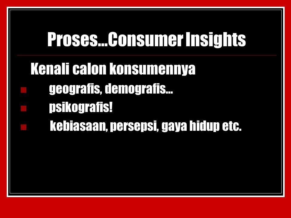 Proses…Consumer Insights Kenali calon konsumennya geografis, demografis… psikografis.