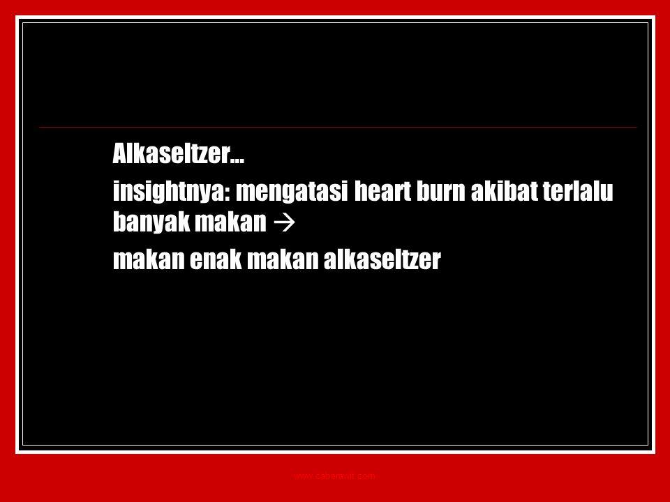 Alkaseltzer… insightnya: mengatasi heart burn akibat terlalu banyak makan  makan enak makan alkaseltzer www.caberawit.com