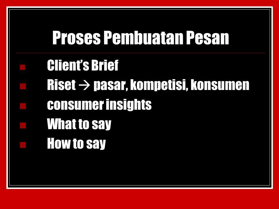 Proses Pembuatan Pesan Client's Brief Riset  pasar, kompetisi, konsumen consumer insights What to say How to say