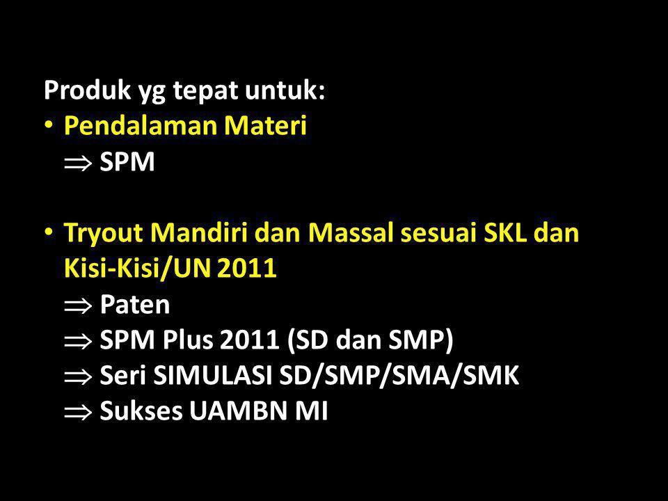 Produk yg tepat untuk: Pendalaman Materi  SPM Tryout Mandiri dan Massal sesuai SKL dan Kisi-Kisi/UN 2011  Paten  SPM Plus 2011 (SD dan SMP)  Seri