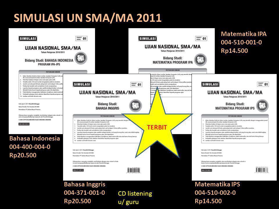 SIMULASI UN SMA/MA 2011 Bahasa Indonesia 004-400-004-0 Rp20.500 Bahasa Inggris 004-371-001-0 Rp20.500 Matematika IPA 004-510-001-0 Rp14.500 Matematika
