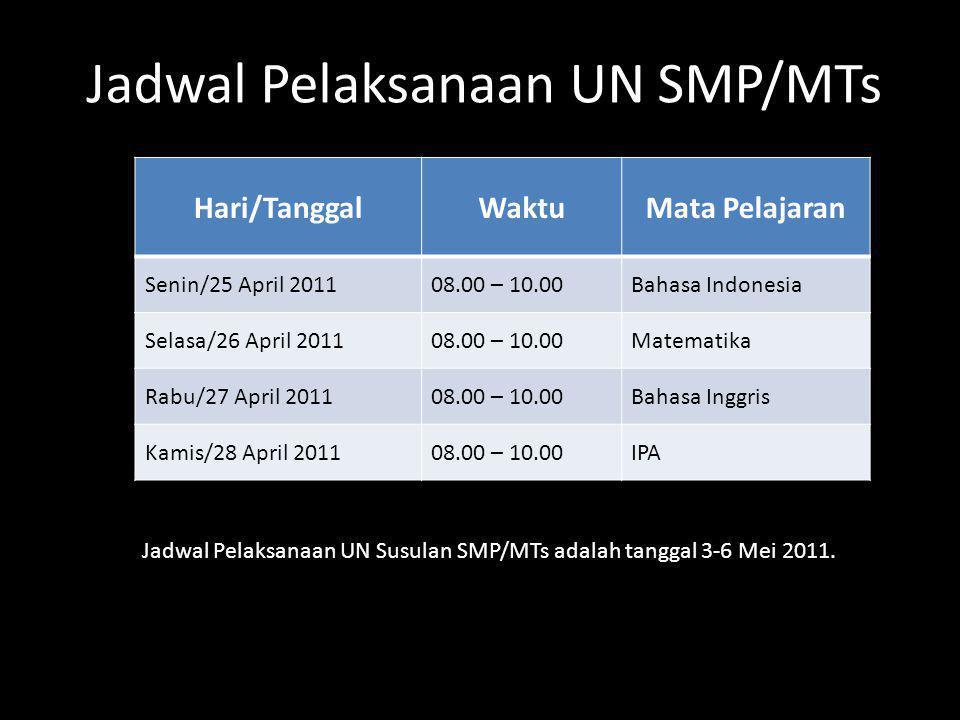 Hari/TanggalWaktuMata Pelajaran Senin/25 April 201108.00 – 10.00Bahasa Indonesia Selasa/26 April 201108.00 – 10.00Matematika Rabu/27 April 201108.00 –