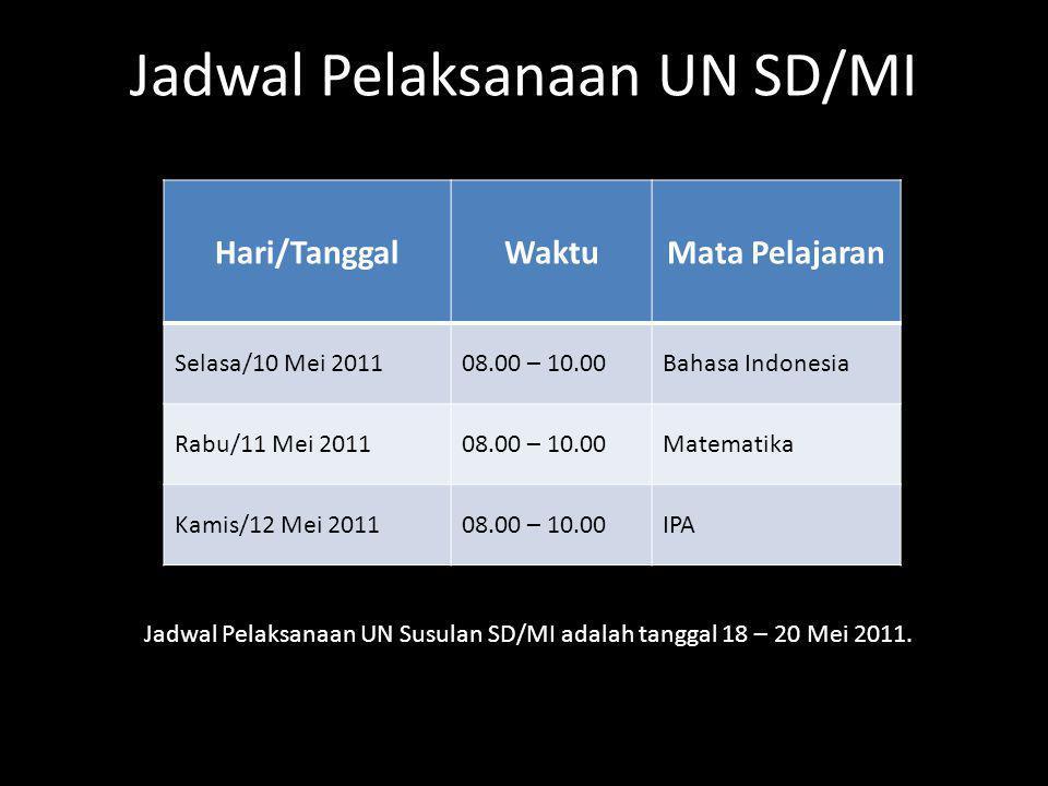 Hari/TanggalWaktuMata Pelajaran Selasa/10 Mei 201108.00 – 10.00Bahasa Indonesia Rabu/11 Mei 201108.00 – 10.00Matematika Kamis/12 Mei 201108.00 – 10.00