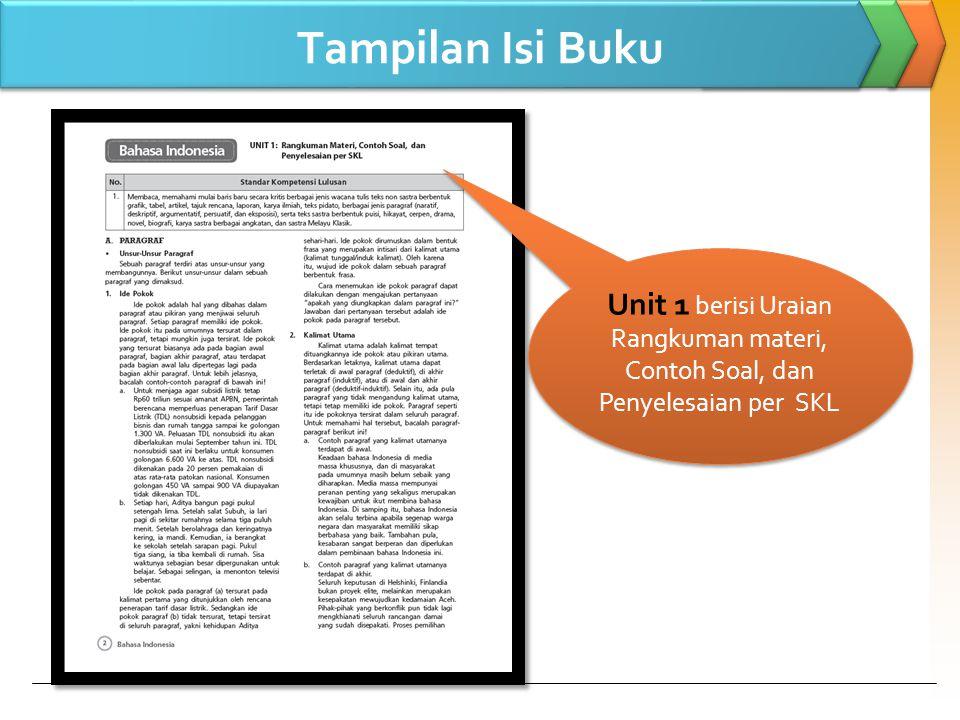 Tampilan Isi Buku Unit 1 berisi Uraian Rangkuman materi, Contoh Soal, dan Penyelesaian per SKL