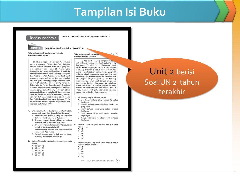 Tampilan Isi Buku Unit 2 berisi Soal UN 2 tahun terakhir