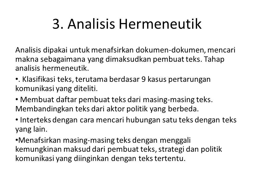 3. Analisis Hermeneutik Analisis dipakai untuk menafsirkan dokumen-dokumen, mencari makna sebagaimana yang dimaksudkan pembuat teks. Tahap analisis he