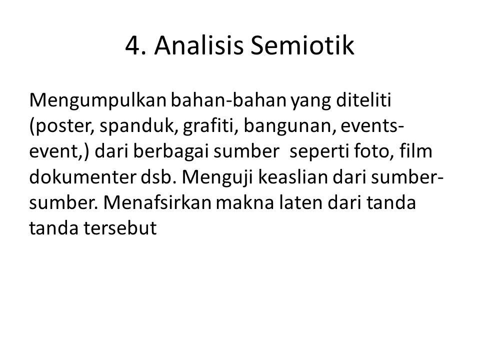 4. Analisis Semiotik Mengumpulkan bahan-bahan yang diteliti (poster, spanduk, grafiti, bangunan, events- event,) dari berbagai sumber seperti foto, fi