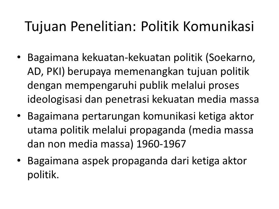 Tujuan Penelitian: Politik Komunikasi Bagaimana kekuatan-kekuatan politik (Soekarno, AD, PKI) berupaya memenangkan tujuan politik dengan mempengaruhi