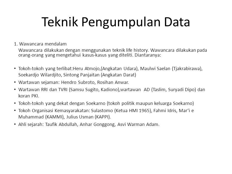 Teknik Pengumpulan Data 1. Wawancara mendalam Wawancara dilakukan dengan menggunakan teknik life history. Wawancara dilakukan pada orang-orang yang me