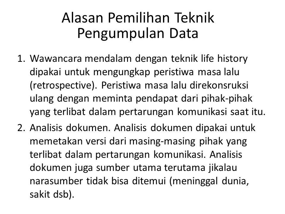 Alasan Pemilihan Teknik Pengumpulan Data 1.Wawancara mendalam dengan teknik life history dipakai untuk mengungkap peristiwa masa lalu (retrospective).