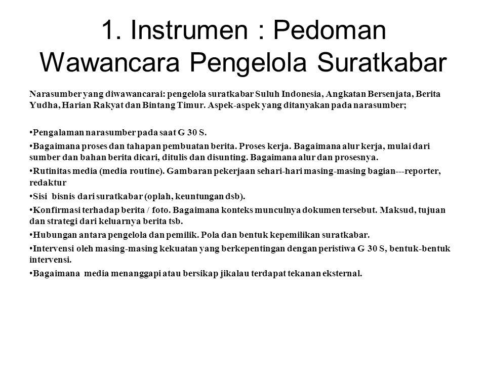 1. Instrumen : Pedoman Wawancara Pengelola Suratkabar Narasumber yang diwawancarai: pengelola suratkabar Suluh Indonesia, Angkatan Bersenjata, Berita