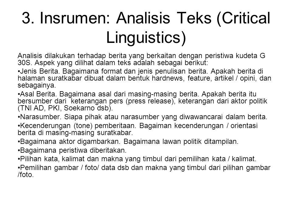 3. Insrumen: Analisis Teks (Critical Linguistics) Analisis dilakukan terhadap berita yang berkaitan dengan peristiwa kudeta G 30S. Aspek yang dilihat
