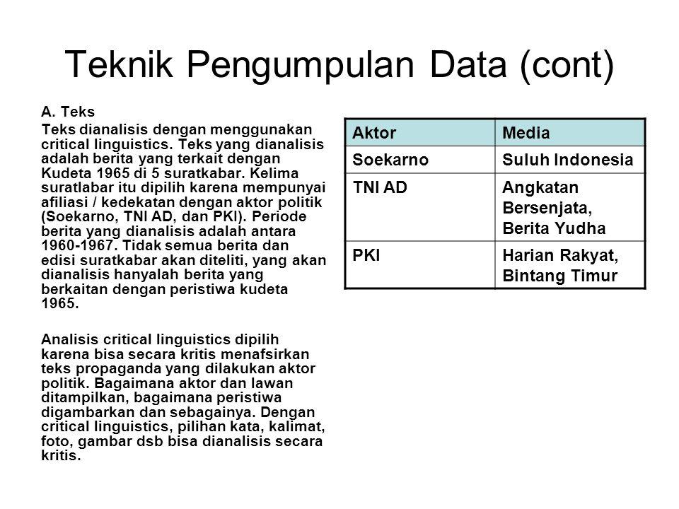 Teknik Pengumpulan Data (cont) A. Teks Teks dianalisis dengan menggunakan critical linguistics. Teks yang dianalisis adalah berita yang terkait dengan