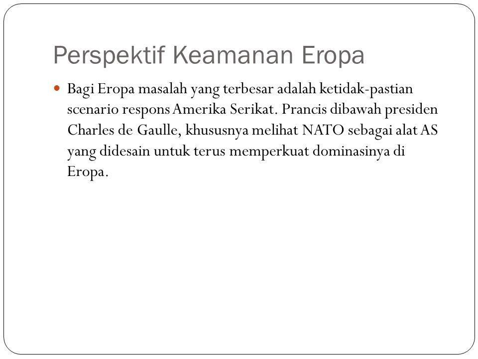 Perspektif Keamanan Eropa Bagi Eropa masalah yang terbesar adalah ketidak-pastian scenario respons Amerika Serikat. Prancis dibawah presiden Charles d