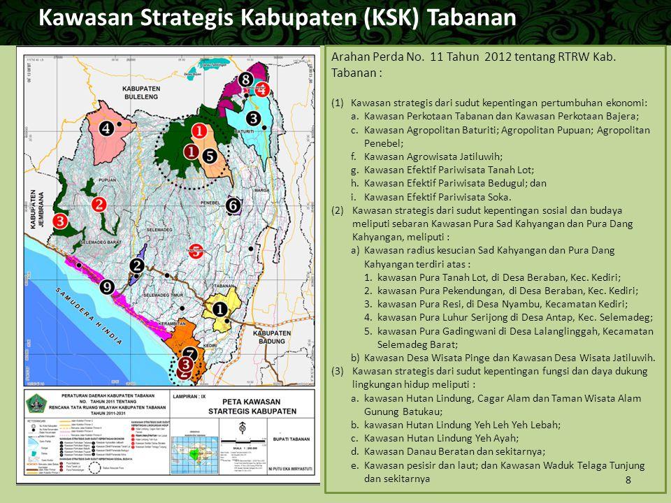 Kawasan Strategis Kabupaten (KSK) Tabanan Arahan Perda No. 11 Tahun 2012 tentang RTRW Kab. Tabanan : (1) Kawasan strategis dari sudut kepentingan pert