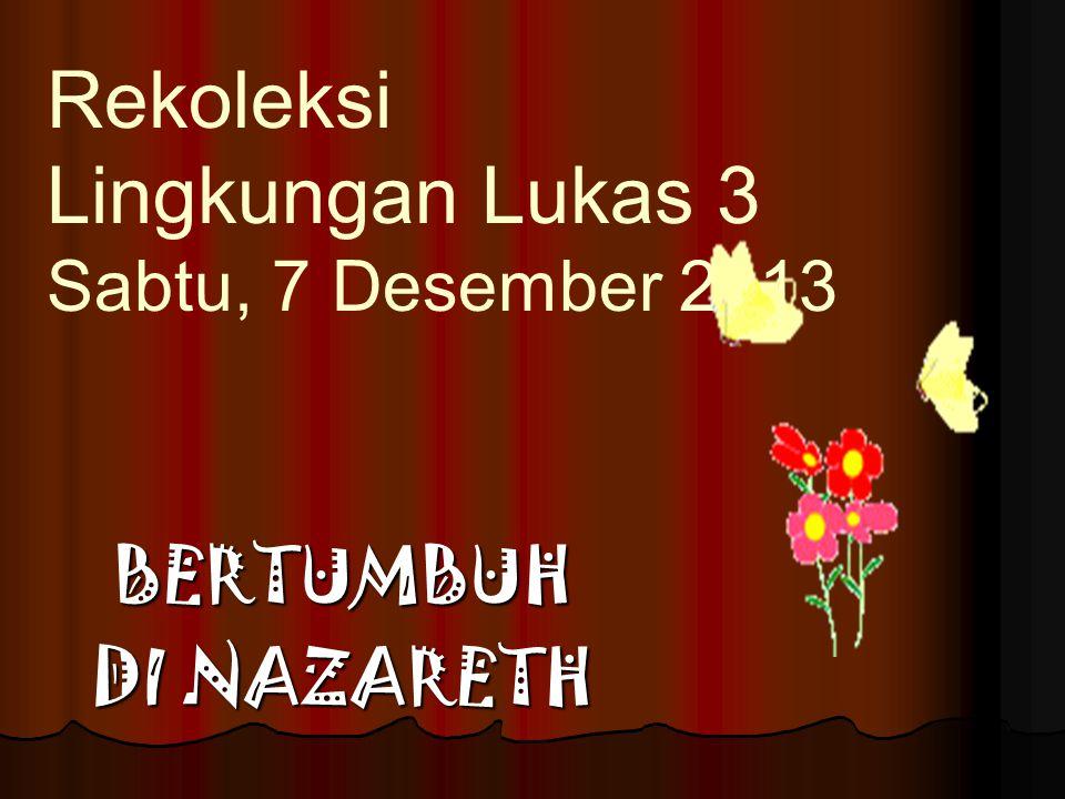 BERTUMBUH DI NAZARETH Rekoleksi Lingkungan Lukas 3 Sabtu, 7 Desember 2013