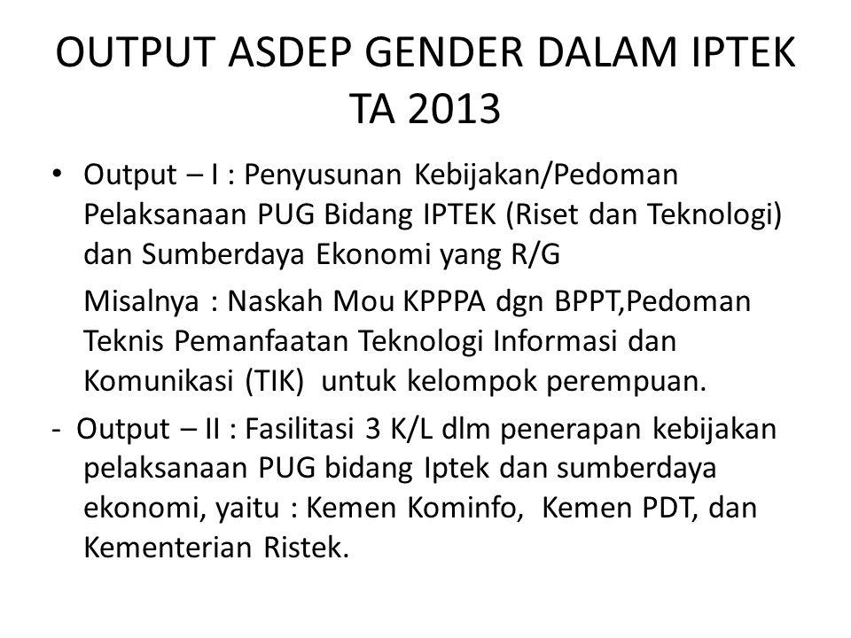 OUTPUT ASDEP GENDER DALAM IPTEK TA 2013 Output – I : Penyusunan Kebijakan/Pedoman Pelaksanaan PUG Bidang IPTEK (Riset dan Teknologi) dan Sumberdaya Ek