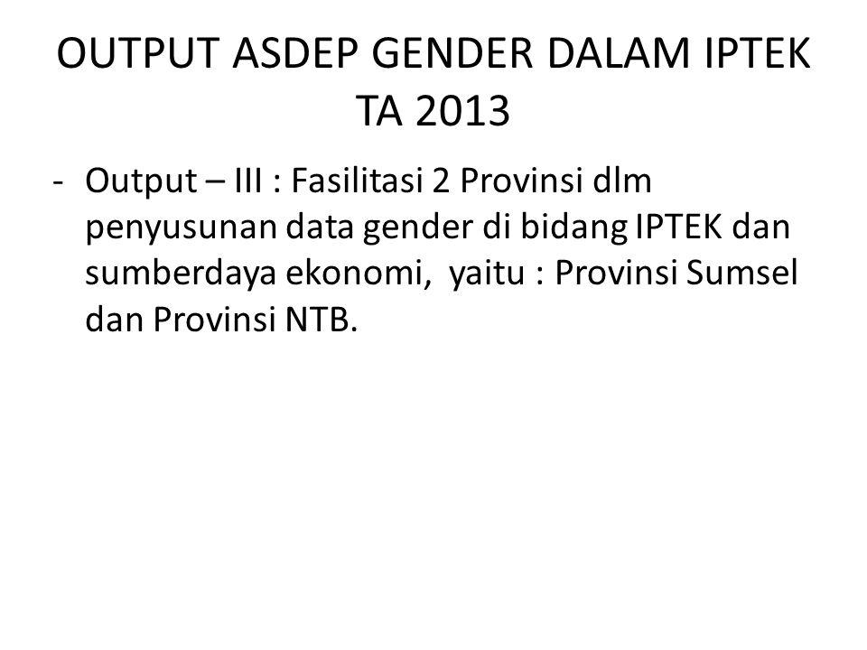 OUTPUT ASDEP GENDER DALAM IPTEK TA 2013 -Output – III : Fasilitasi 2 Provinsi dlm penyusunan data gender di bidang IPTEK dan sumberdaya ekonomi, yaitu