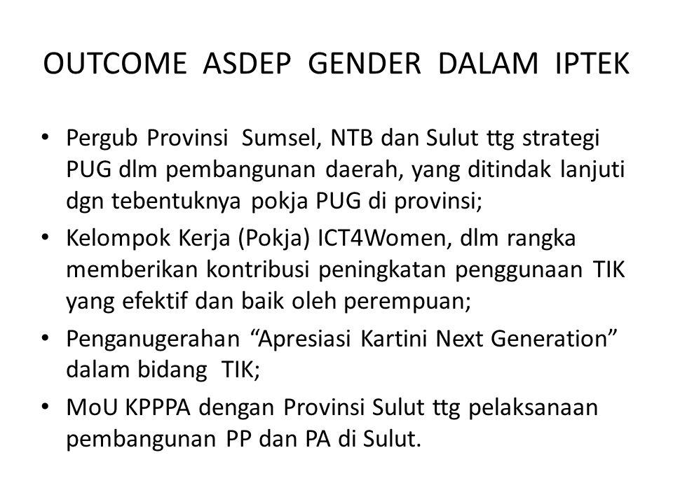 OUTCOME ASDEP GENDER DALAM IPTEK Pergub Provinsi Sumsel, NTB dan Sulut ttg strategi PUG dlm pembangunan daerah, yang ditindak lanjuti dgn tebentuknya