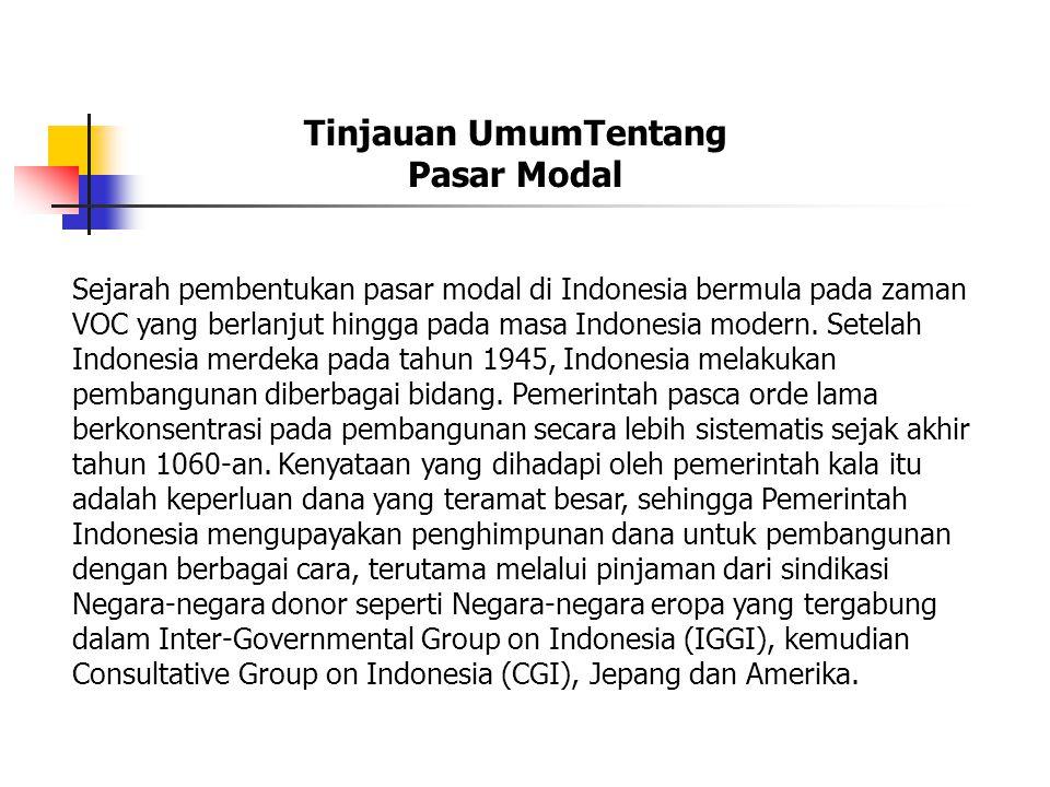 Sejarah pembentukan pasar modal di Indonesia bermula pada zaman VOC yang berlanjut hingga pada masa Indonesia modern.