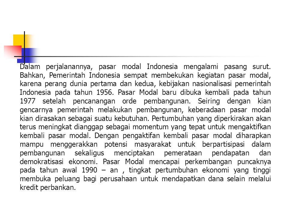 Dalam perjalanannya, pasar modal Indonesia mengalami pasang surut.