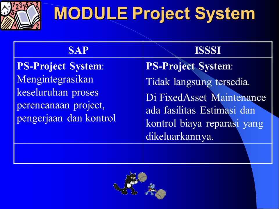MODULE ASSET SAPISSSI AM-Asset Management: Membantu pengelolaan atas keseluruhan fixed assets, meliputi proses asset accounting tradisional dan technical assets management, sampai ke investment controlling FixAsset Management: Membantu pengelolaan fixed assets, meliputi proses Checkup, Estimation dan Repair/Service.