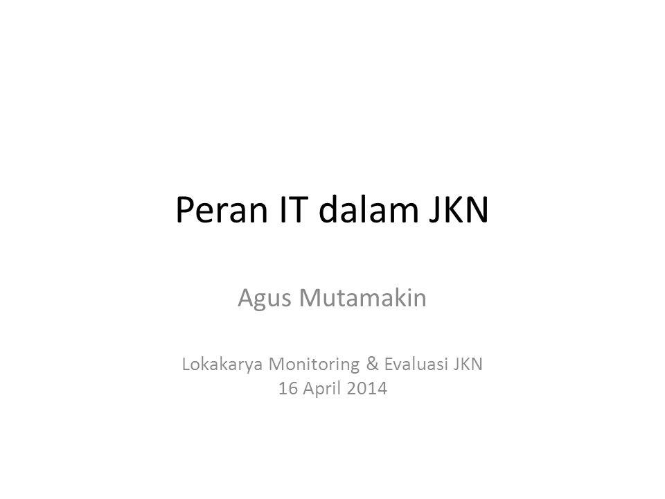Peran IT dalam JKN Agus Mutamakin Lokakarya Monitoring & Evaluasi JKN 16 April 2014