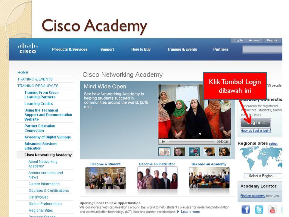 Cisco Academy Klik Tombol Login dibawah ini