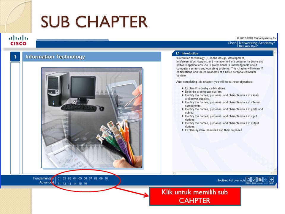 Klik untuk memilih sub CAHPTER SUB CHAPTER