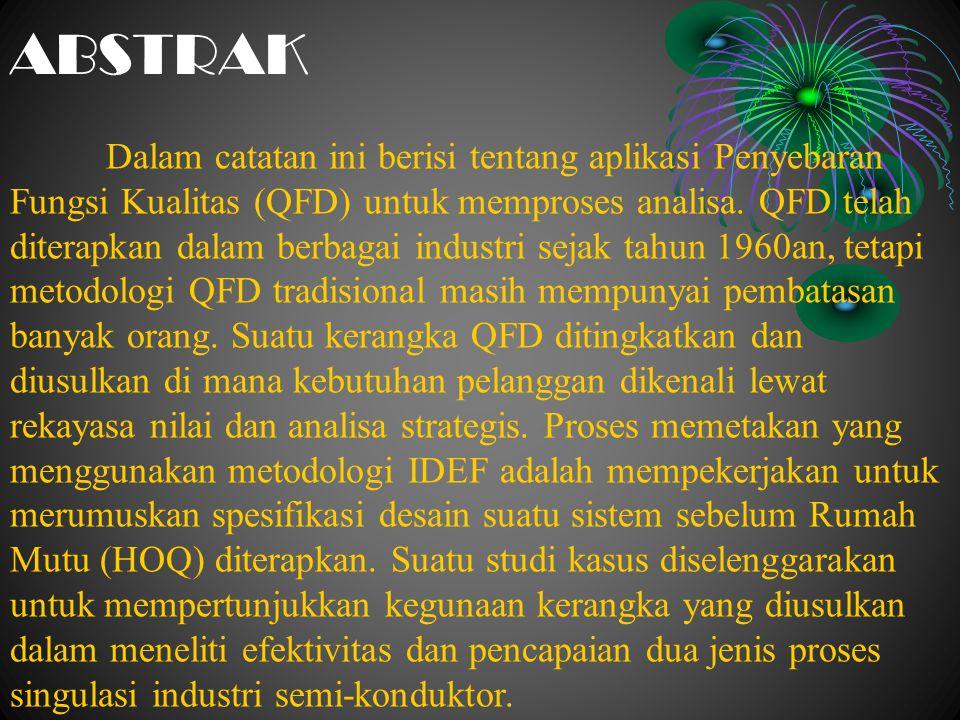 ABSTRAK Dalam catatan ini berisi tentang aplikasi Penyebaran Fungsi Kualitas (QFD) untuk memproses analisa. QFD telah diterapkan dalam berbagai indust