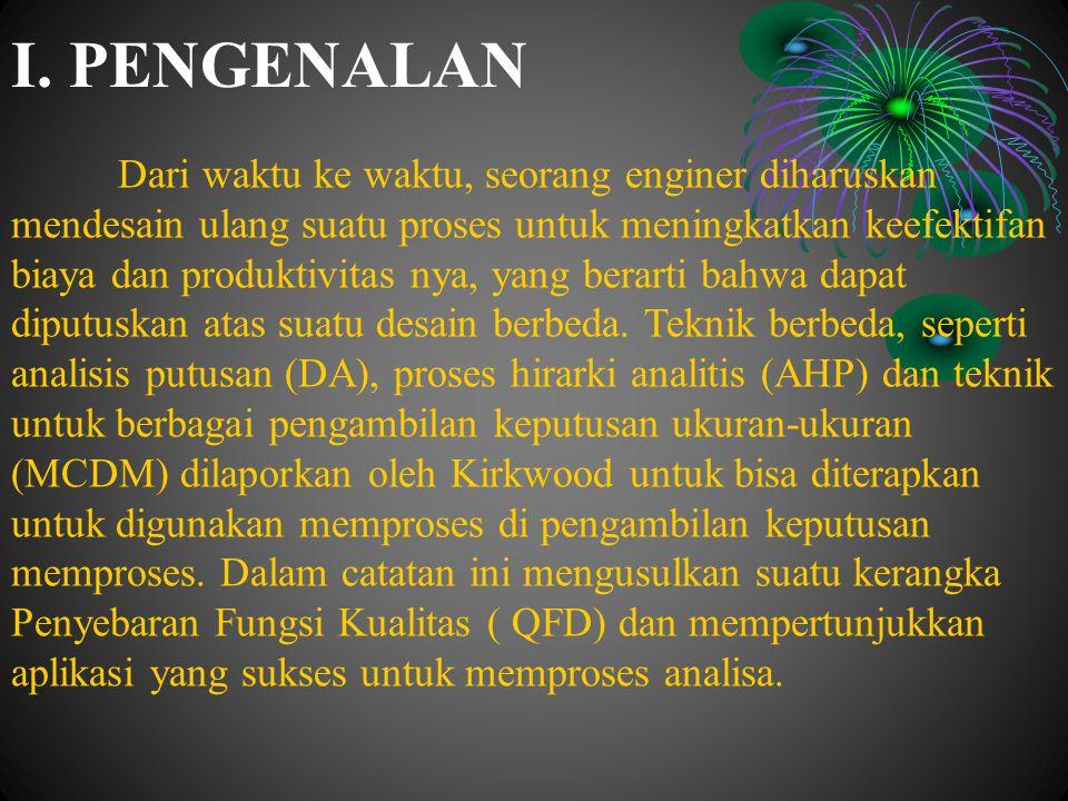 PENGENALAN (lanjutan) Kita mulai dengan suatu ikhtisar tentang Penyebaran Fungsi Kualitas (QFD) dan sebagian dari pembatasan nya.