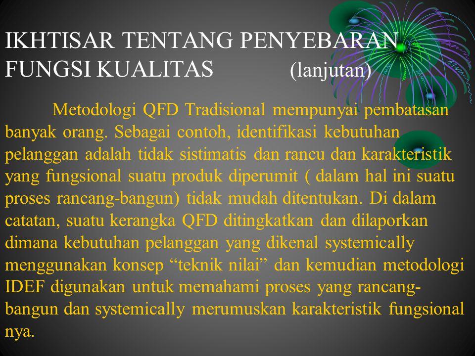 Metodologi QFD Tradisional mempunyai pembatasan banyak orang. Sebagai contoh, identifikasi kebutuhan pelanggan adalah tidak sistimatis dan rancu dan k
