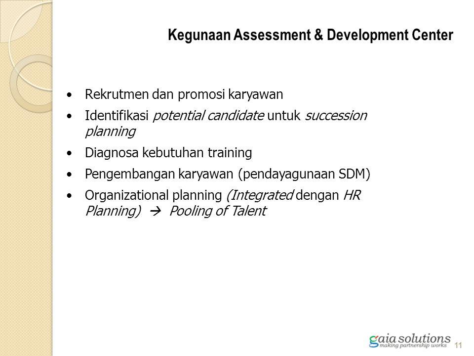 Rekrutmen dan promosi karyawan Identifikasi potential candidate untuk succession planning Diagnosa kebutuhan training Pengembangan karyawan (pendayagu