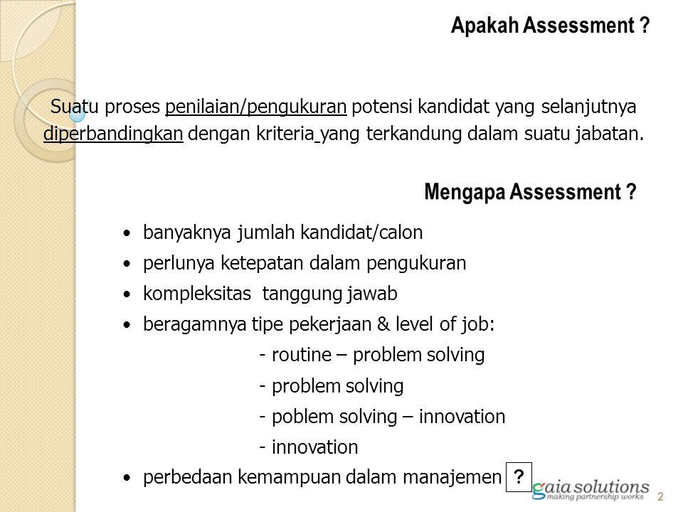 Apakah Assessment ? Suatu proses penilaian/pengukuran potensi kandidat yang selanjutnya diperbandingkan dengan kriteria yang terkandung dalam suatu ja