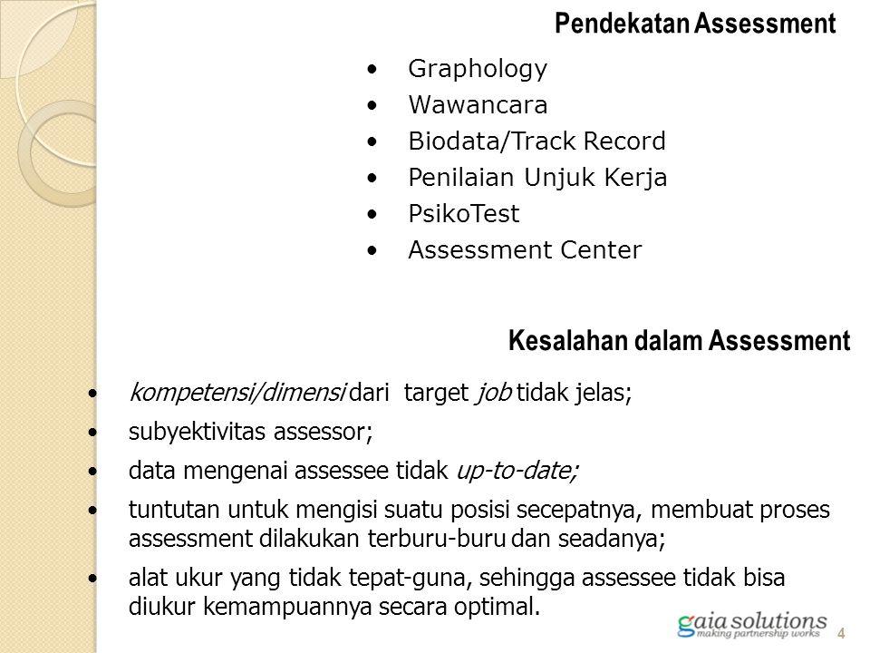 kompetensi/dimensi dari target job tidak jelas; subyektivitas assessor; data mengenai assessee tidak up-to-date; tuntutan untuk mengisi suatu posisi s