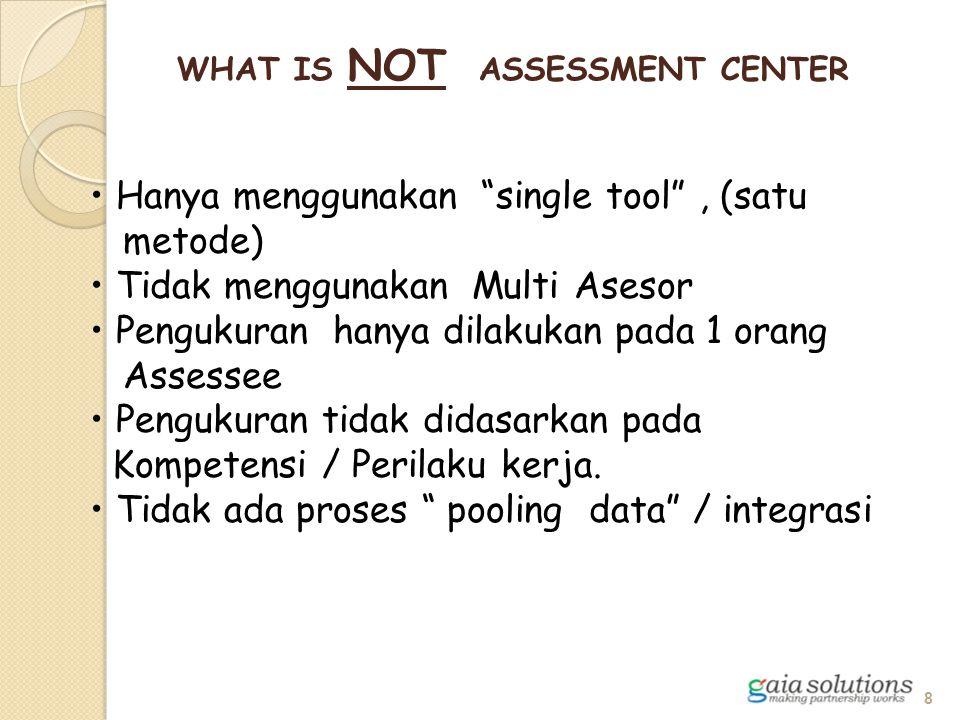 """WHAT IS NOT ASSESSMENT CENTER Hanya menggunakan """"single tool"""", (satu metode) Tidak menggunakan Multi Asesor Pengukuran hanya dilakukan pada 1 orang As"""