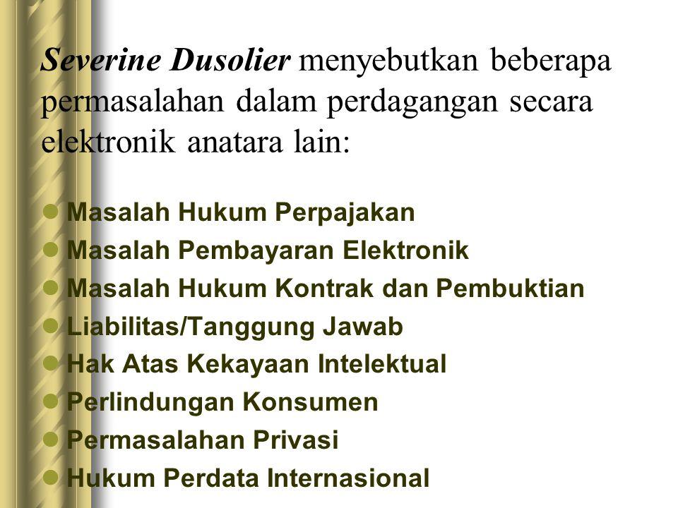 Isu Hukum e-Commerce dan e- Contract di Indonesia Indonesia saat ini sangat membutuhkan suatu undang-undang yang akan mengatur tentang legalitas kontrak-kontrak bisnis elektronik (business e-contract), verifikasi tanda tangan elektronik, pengaturan tindak kejahatan cyber (cyber crime), dan sebagainya.