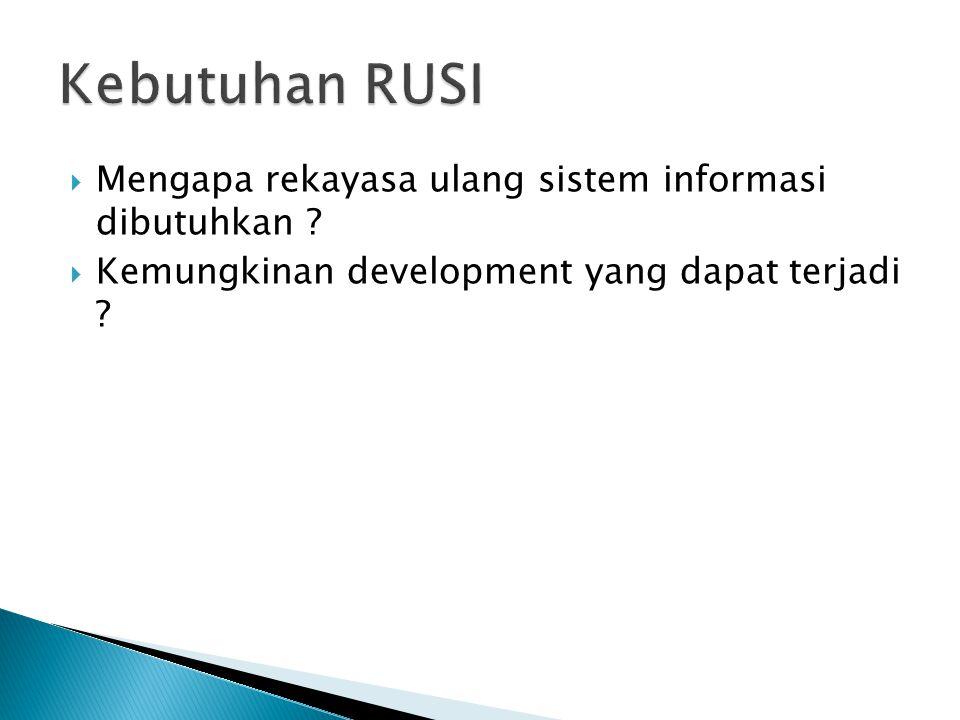  Mengapa rekayasa ulang sistem informasi dibutuhkan ?  Kemungkinan development yang dapat terjadi ?