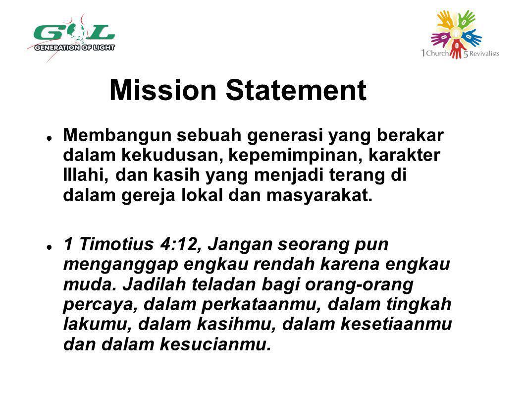 Mission Statement Membangun sebuah generasi yang berakar dalam kekudusan, kepemimpinan, karakter Illahi, dan kasih yang menjadi terang di dalam gereja lokal dan masyarakat.