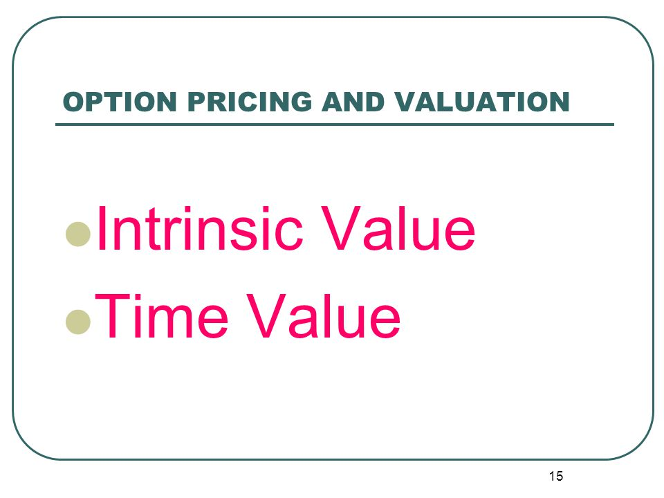 OPTION PRICING AND VALUATION 14